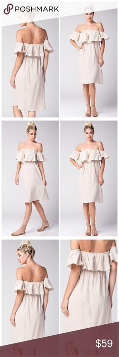The Romina neutral off shoulder ruffle dress This off the shoulder ruffle dress in neutral features a textured, light and fully lined fabric made of 100% cotton. Perfect for a warm day, this dress is light, airy and breathable keeping you comfy from brunch until cocktails. This dress of midi length and features an elastic gathering underneath the bust to keep you in place. Pair with sandals and a long necklace to keep this clean and classy. A must have for your spring and summer wardrobe…