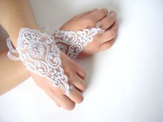 White Bridal  Gloves Sparkling Stones Lace Wedding by bytugce, $26.00