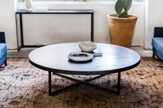 Avalon coffee table slate Contemporary Furniture, Contemporary Style, Mcm House, Timber Table, Living Spaces, Living Room, Salvaged Wood, Round Coffee Table, Wood Planks