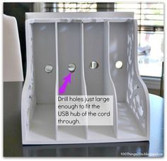 100 Things 2 Do: Magazine rack turned Charging Station                                                                                                                                                      More
