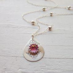 Camilee Designs Blush Topaz Ornate Spike Necklace