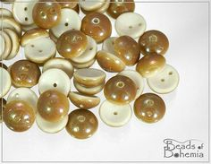White Caramel 2 Hole Czech Piggy Beads 8x4 mm 30 by BeadsOfBohemia, $2.85