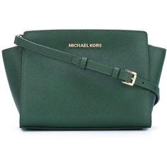 Michael Michael Kors Medium Selma Messenger Bag ($205) ❤ liked on Polyvore featuring bags, messenger bags, green, leather courier bag, leather cross body, michael michael kors and crossbody bags
