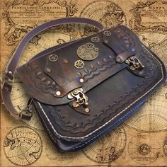 Handmade leather women's handbag  steampunk by PapyrusCrafts