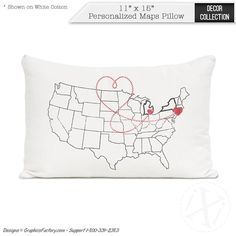 Valentine SALE Personalized US Map Pillow Cover By AmoreBeaute - Us map pillow personalized