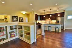 Gallery - Creative Homes. Amazing build in bookshelf in one of our homes in the neighborhood Liberty West, located in Stillwater Minnesota.