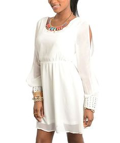 Take a look at this White Studded Split-Sleeve Scoop Neck Dress - Women by Buy in America on #zulily today!