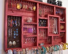 Space Saving Jewelry Organizer with Bracelet Bar and Ring   Etsy
