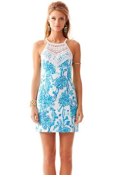 Lilly Pulitzer Pearl Lace Neck Shift Dress in Resort White & Blue Back it Up