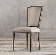 RH's Vintage French Nailhead Fabric Side Chair:Our reproduction of a Louis XVI dining chair displays the elegant restraint emblematic of neoclassicism, updated in relaxed fabric and a casual finish.