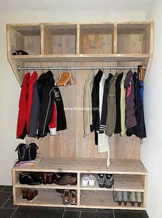 pallet clothes hanger and shoe rack