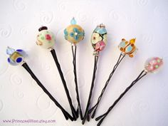 Lampwork Beaded bobby pins  Wire wrapped by PrincessJillian, $9.00 ETSY