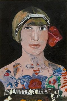 Peter-Blake,-Tattooed-Woman-2,-2015,-watercolour,-