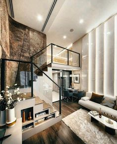Home Decor Living Room .Home Decor Living Room Loft House Design, Small House Design, Dream Home Design, Modern House Design, Modern Interior Design, Interior Architecture, Loft Apartment Decorating, Apartment Design, Contemporary Apartment
