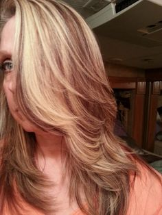 Warm chestnut brown. Level 4 lowlights and honey blonde chunky hilites. Created by Jacci Pascoe-Suarez tonite! Love it! :)