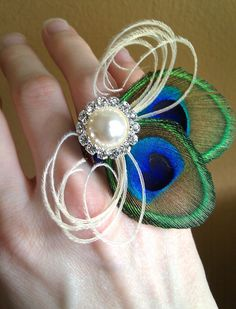 Peacock Feather Ring Corsage Unique Petite by CherubinoCrafts, $15.00 peacock feathers, idea, bridesmaid, petit, amaz ring, feather ring, prom, ring corsag, homecom corsag