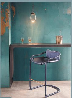 A to-die-for stool from Ochre, with saddle leather seat & brass foot bar.  Fortunately for my wallet, it appears to come only in barstool height, not counter :)