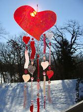 """Stained Glass by Kim """"Love Abounds"""" Handmade Wind Chime Windchime Valentines Day"""