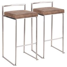 Lumisource Fuji Stackable Bar Stool Stainless Steel Brown Cowboy Fabric (Set of Leather Furniture, Bar Furniture, Stainless Steel Bar Stools, Stackable Stools, Upholstered Bar Stools, Brown Cushions, Counter Bar Stools, Island Stools, Dining Room Bar