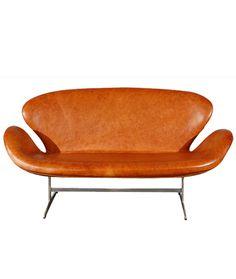 Arne Jacobsen - Canapé Swan Cuir Elégance Walnut - Fritz Hansen