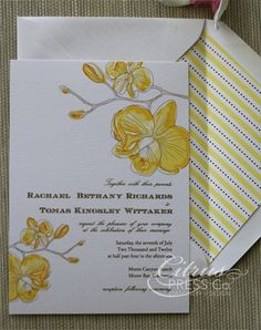 #Orchid #Watercolor #Wedding #Invitation Yellow