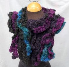 Handspun and freeform crochet scarf