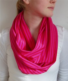 Beautiful red and pink striped infinity cowl scarf. Pretty for Valentines Day but it can also go into spring and summer!  Totally circular. Valentine's Day party, Valentine's Day, Valentine's Day Accessories, Valentine's Day gift, birthday present for sisters