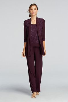 3/4 Sleeve Jacket with Lace Tank and Pants 5589D
