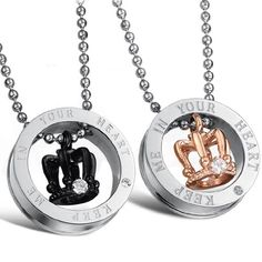 """JewelryWe Valentine Day Gifts 2pcs of """"Keep Me in Your Heart"""" Stainless Steel Couple Crown Pendant Necklaces Set (One Pair). Material: Stainless Steel. Diameter: 22mm male / 21mm female; Weight: 14g male / 12g female. Chain length: 55cm for male or 50cm for female. Crown high: 14mm Male / 13mm Female. Including one blue velvet bag printed """"JewelryWe"""" on it."""