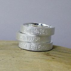 """3. bild Freundschaftsringe - Silberring """"Best Friend"""" mit Wunschtext - ein Designerstück von Birli bei DaWanda"""