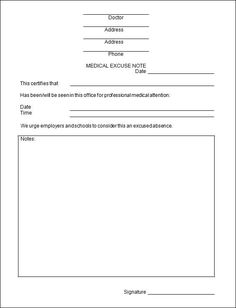 doctors-note-excuse-form | Fake doctors note | Pinterest on medical justification form, sample medical release form, medical declaration form, medical power of attorney form, medical clear form, medical consent form,