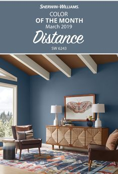 If youre on the hunt for a charming chalky blue the March Color of the Month is for you. Distance SW 6243 sports a cool vibe thats perfect for wal Blue Wall Colors, Room Paint Colors, Paint Colors For Living Room, Paint Colors For Home, Interior Paint Colors, Bedroom Colors, House Colors, Blue Gray Paint Colors, Interior Design