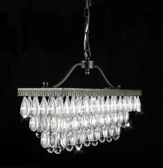 Add elegance and class to your abode with this crystal glass drop chandelier. This unique indoor chandelier has three lights, and features an astounding, antique, copper-looking finish made from black brushed with gold. This chandelier is simply stunning. Rectangular Chandelier, 3 Light Chandelier, Rustic Chandelier, Pendant Chandelier, Crystal Chandeliers, Pottery Barn, Living Comedor, Candelabra Bulbs, Crystal Drop