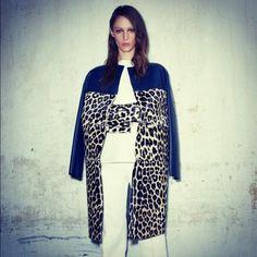 Celine Resort 2013 leather and ocelot coat