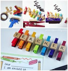 Upcycled clothespin and scrabble tile magnets - personalize with teacher's name!