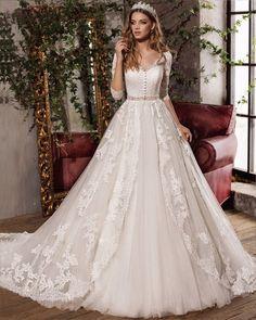 Robe de mariage 2017 Vintage V-Neck A-Line Lace Wedding Dresses 2017 3/4 Sleeve Beaded Wedding Gown Bridal Gown Vestido de noiva
