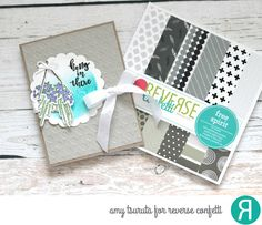 Card by Amy Tsuruta. Reverse Confetti stamp set: Hanging Blooms. Confetti Cuts: Hanging Blooms and Circles 'n Scallops. RC 6x6 paper pad: Free Spirit. Encouragement card. Friendship card.