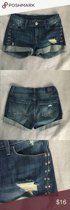 Rock & Republic Denim Shorts Super cute and comfy denim shorts by Rock & Republic. Vintage/worn look, bronze studs down the sides, gently worn in great condition. Rock & Republic Shorts Jean Shorts