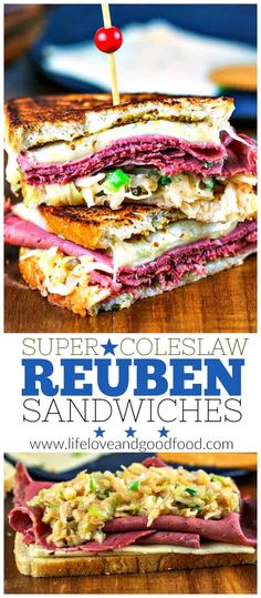 Super Coleslaw Reuben Sandwiches with melty Pepper Jack cheese and tangy coleslaw served hot off the griddle = a big win for this year's Super Bowl Party!