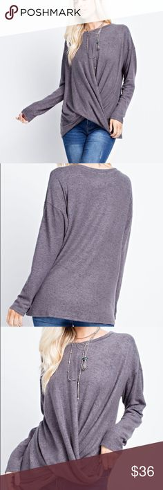 Two toned top TWO-TONED, HACCI BRUSHED, LONG SLEEVED TOP FEATURES A KNOT GATHERED, WRAP STYLE HEM, IN A COMFY FIT. Fabric 79% Rayon, 17% Polyester, 4% Spandex Made in U.S.A 143 story Tops Blouses Long Sleeve Tops, Bell Sleeve Top, Velvet Pants, Fashion Design, Fashion Tips, Fashion Trends, Wrap Style, Knot, Blouses