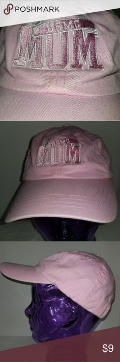USMC Mom baseball cap Pink USMC MOM embroidered on the front, adjustable strap on back for proper fit. 100% cotton. Accessories Hats