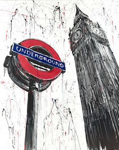 Artist: Paul Kenton - Title: Capital View - Materials/Techniques used: giclee on paper - Inspires, why? - it is simplistic though there are various tones of dark and light and the bright red on the underground sign draws the viewers attention Abstract Painters, Abstract Wall Art, Paul Kenton, Art Alevel, Building Art, A Level Art, Gcse Art, High Art, London Art