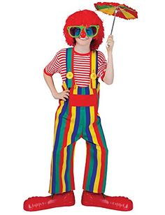 UHC Striped Clown Overalls Funny Comical Theme Party Halloween Child Costume, L (12-14) -- You can get additional details at