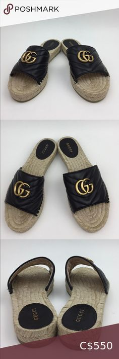 """GUCCI Pilar Espadrille Slide Sandal sz 7.5 Preown in excellent condition true to sz dustbag is not included price is firm  Borrowing elements from the Marmont line, this metallic espadrille sandal is detailed with matelassé quilting and antiqued double-G hardware.  1"""" platform Leather upper and lining/synthetic sole Made in Spain  81 Gucci Shoes Sandals Slide Sandals, Women's Shoes Sandals, Metallic Espadrilles, Espadrille Sandals, Gucci Shoes, Gucci Black, Dust Bag, Spain, Quilting"""