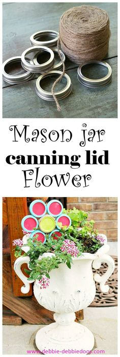 How to make a mason jar canning lid flower ornament for your garden this Spring and Summer.