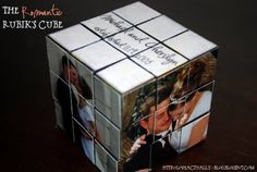 cute. rubik's cube with wedding pictures.
