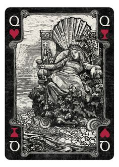 Arcana Playing Cards by Chris Ovdiyenko -- Kickstarter. Playing cards inspired by the Tarot. Arcana is a new deck of custom hand-drawn playing cards printed by USPCC. Queen of Hearts/Cups dark
