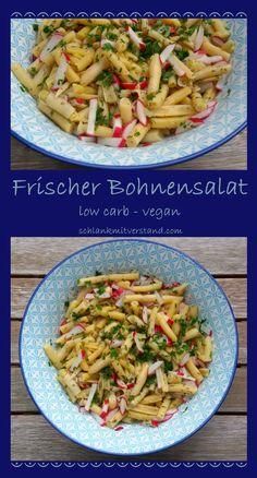 Frischer Bohnensalat low carb vegan Ich mag das Farbenspiel beidem frischen Bohnensalat. Meistens verwendeich die gelben Wachsbohnen;grüne Bohnen eigenen sich aber auch sehr gut. Dieser Salat passt toll zu Gegrilltem. Manchmal essen wir ihn aber auch einfach so. Zutaten: 350 g Wachsbohnen, küchenfertig 5 Radieschen 2 EL geschmacksneutrales Öl 1 EL Zitronensaft 2EL Apfelessig 1 TL Xylit 4 EL Wasser Salz, Pfeffer aus der Mühle jeweils 2 Stängel Petersilie undDill #lowcarb #abnehmen #Food…