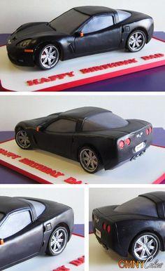 Car cake for the Groom's cake Fondant Man, Fondant Cupcakes, Cupcake Cookies, Fondant Rose, Fondant Flowers, Crazy Cakes, Fancy Cakes, Cupcake Carros, Corvette Cake