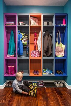 Looking for Storage and Utility and Mudroom ideas? Browse Storage and Utility and Mudroom images for decor, layout, furniture, and storage inspiration from HGTV. Family Room Design, Room Organization, Storage Spaces, Storage Ideas, Kids Storage, Storage Solutions, Home Projects, Houzz, Interior